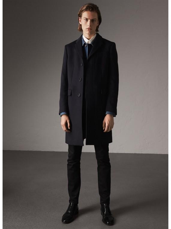 Manteau ajusté en laine et cachemire (Marine)
