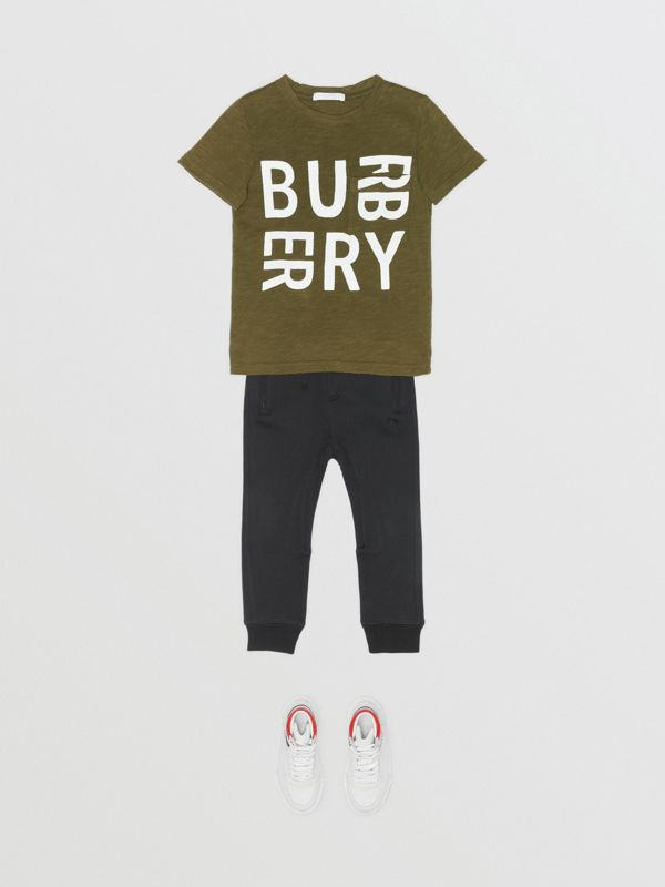 Logo Print Cotton T-shirt in Khaki | Burberry - cell image 2