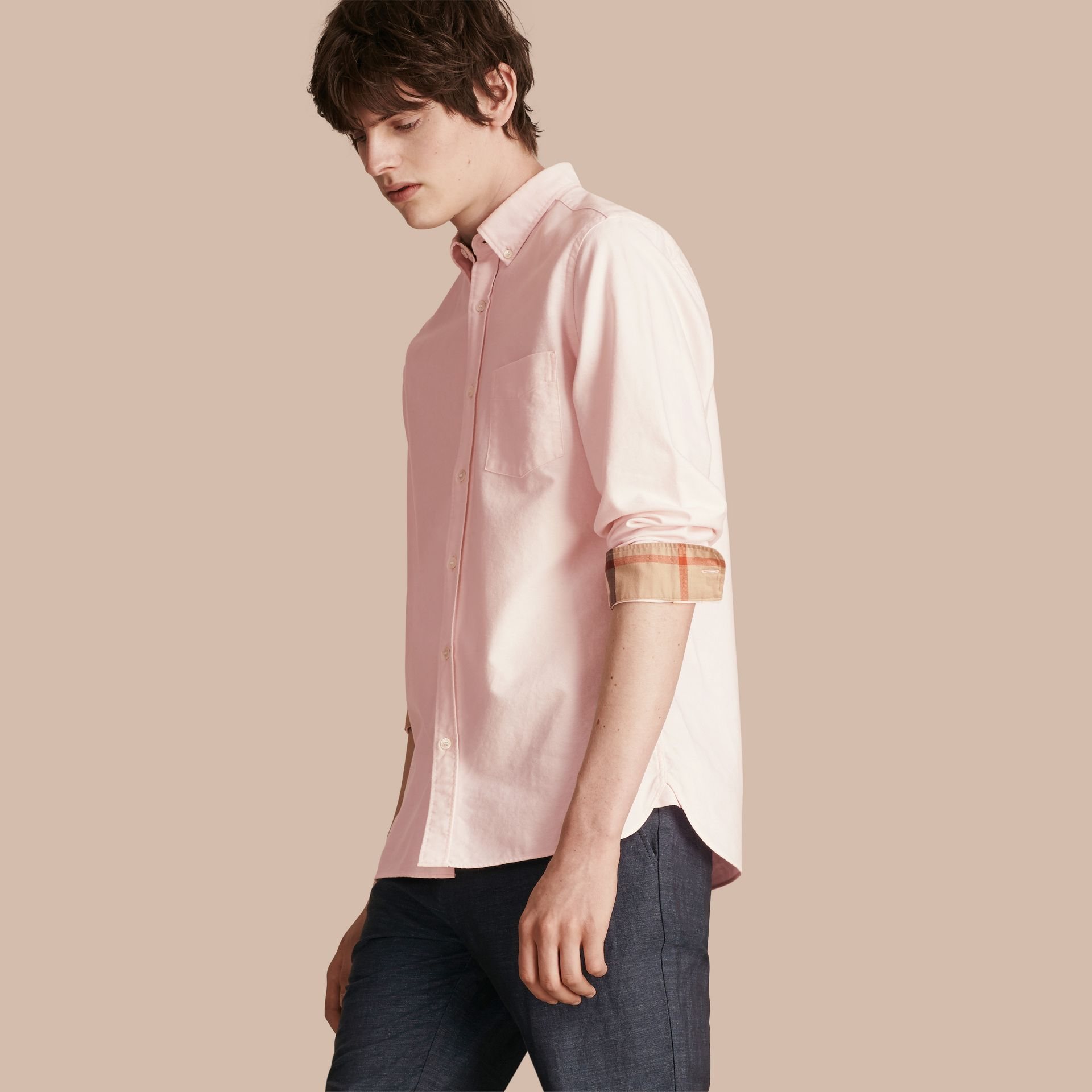 Check Detail Stretch Cotton Poplin Shirt Pale Pink - gallery image 1