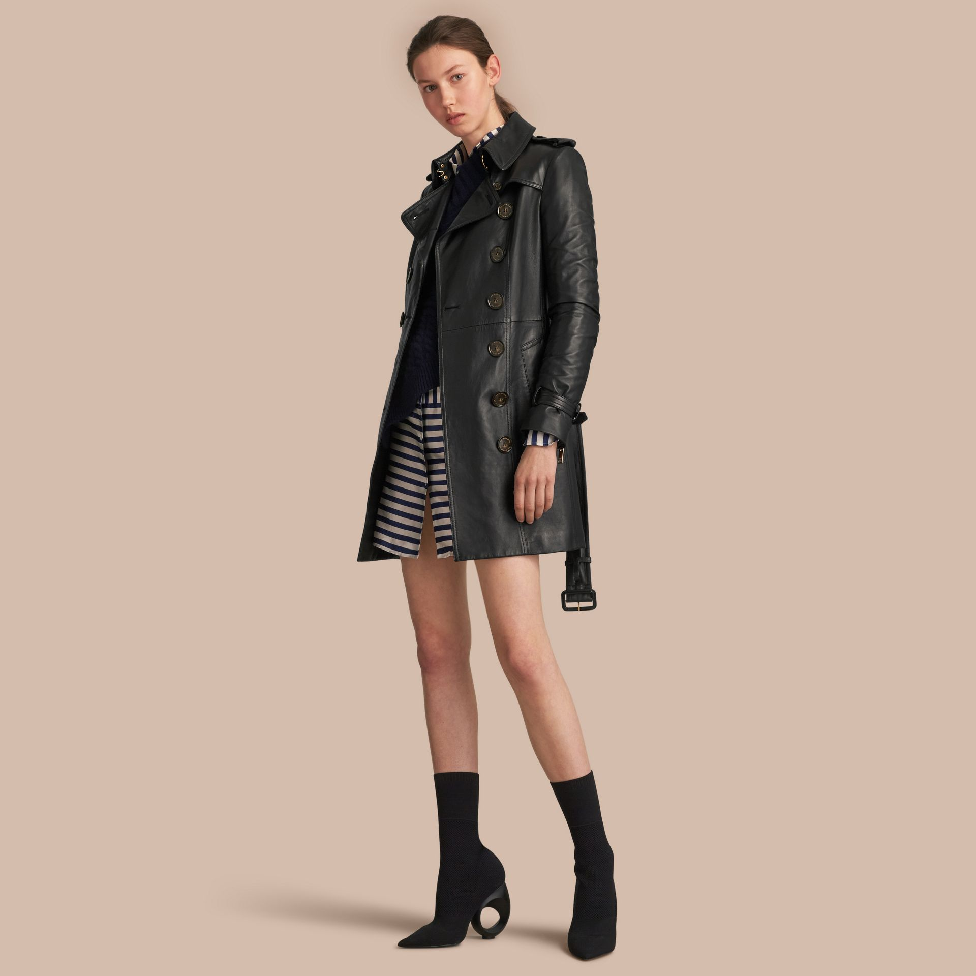 Lambskin Trench Coat in Black - Women | Burberry - gallery image 1
