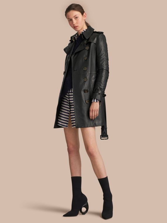Lambskin Trench Coat in Black - Women | Burberry Australia