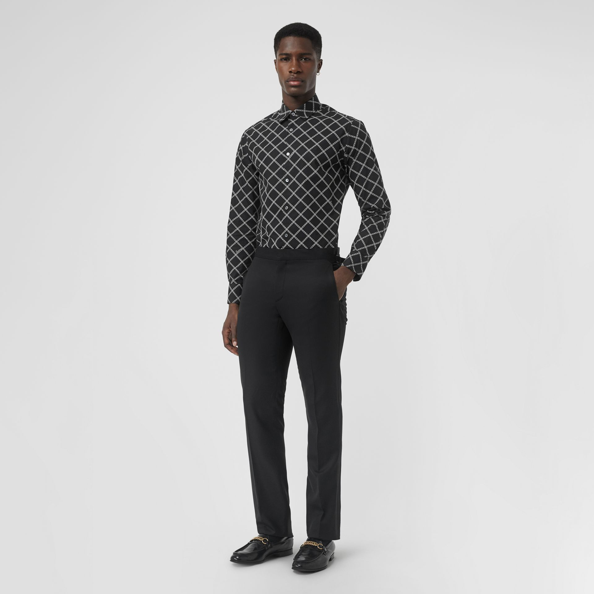 Link Print Cotton Poplin Shirt in Black - Men | Burberry - gallery image 0