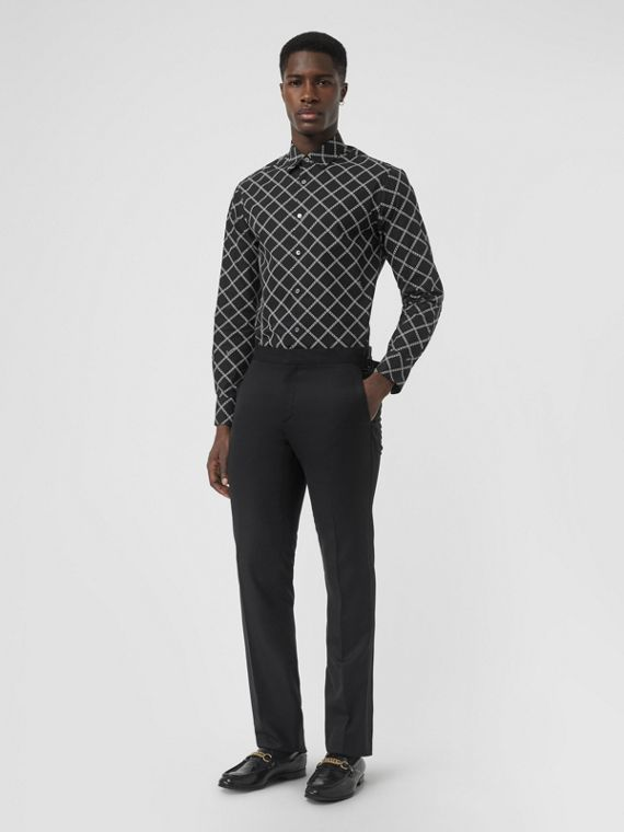 Link Print Cotton Poplin Shirt in Black