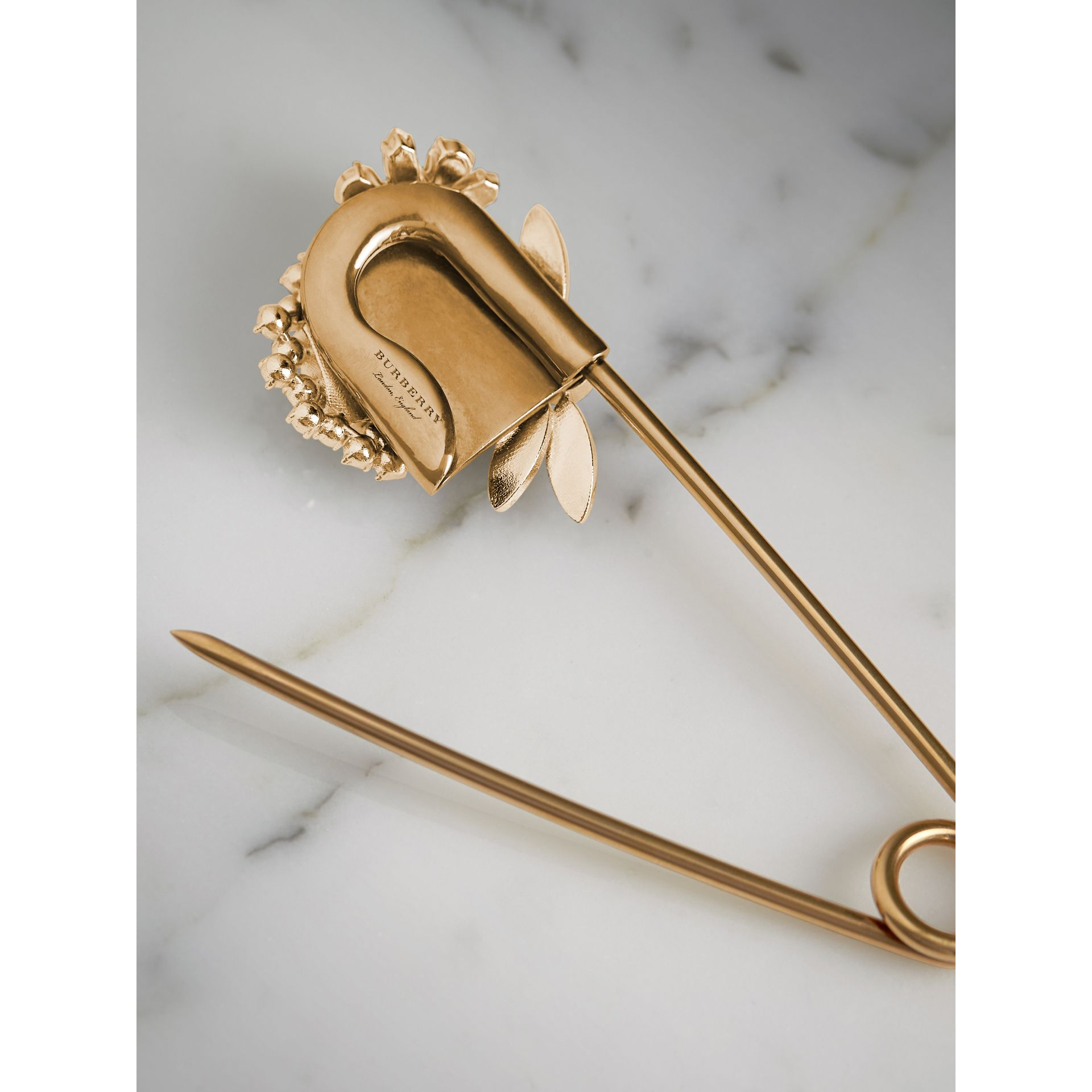 Crystal and Brass Oversized Pin | Burberry United States - gallery image 4