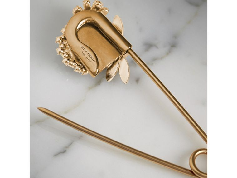 Crystal and Brass Oversized Pin | Burberry United States - cell image 4