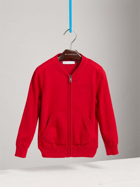 Check Elbow Patch Cotton Bomber Cardigan in Military Red