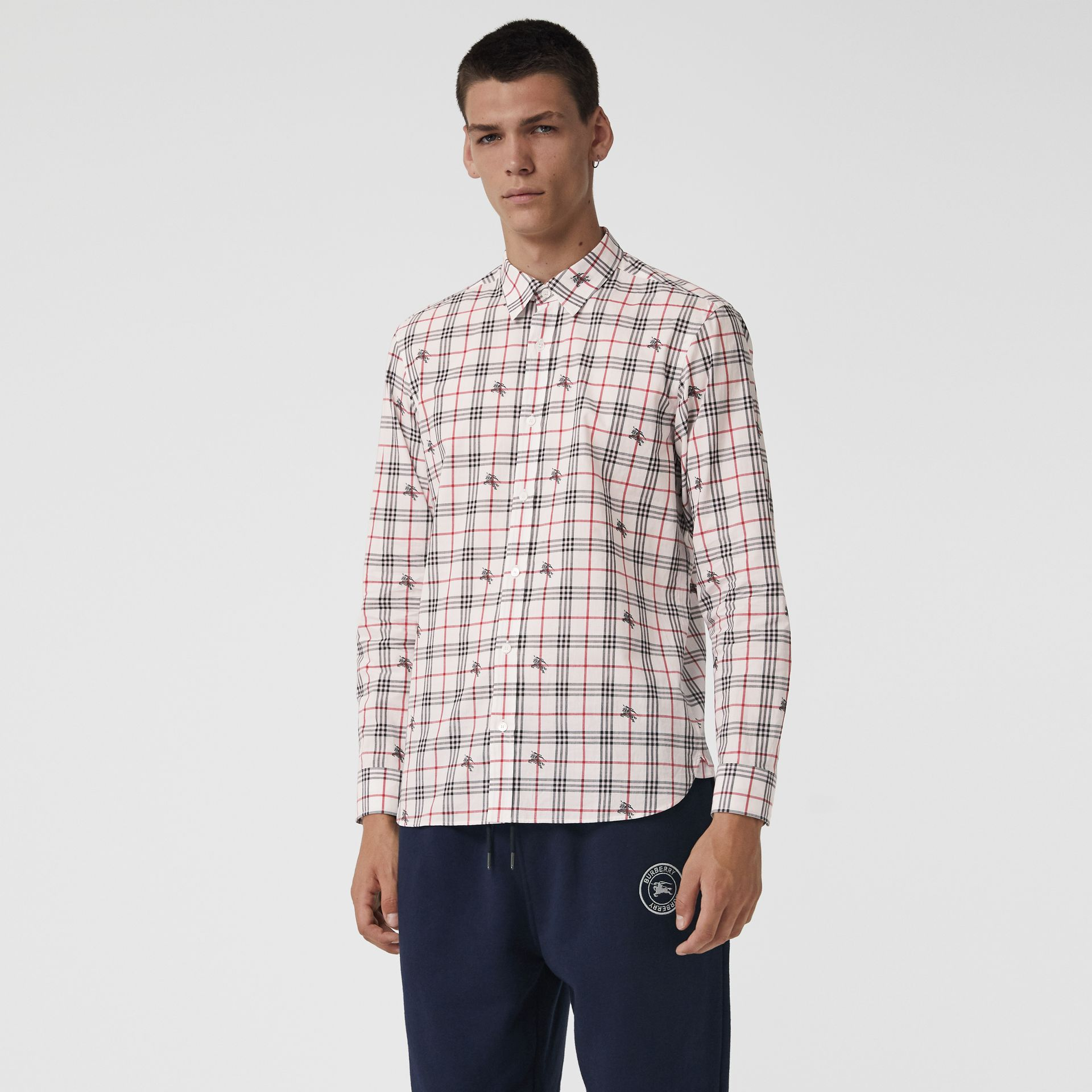 Equestrian Knight Check Cotton Shirt in Natural White - Men | Burberry United Kingdom - gallery image 0