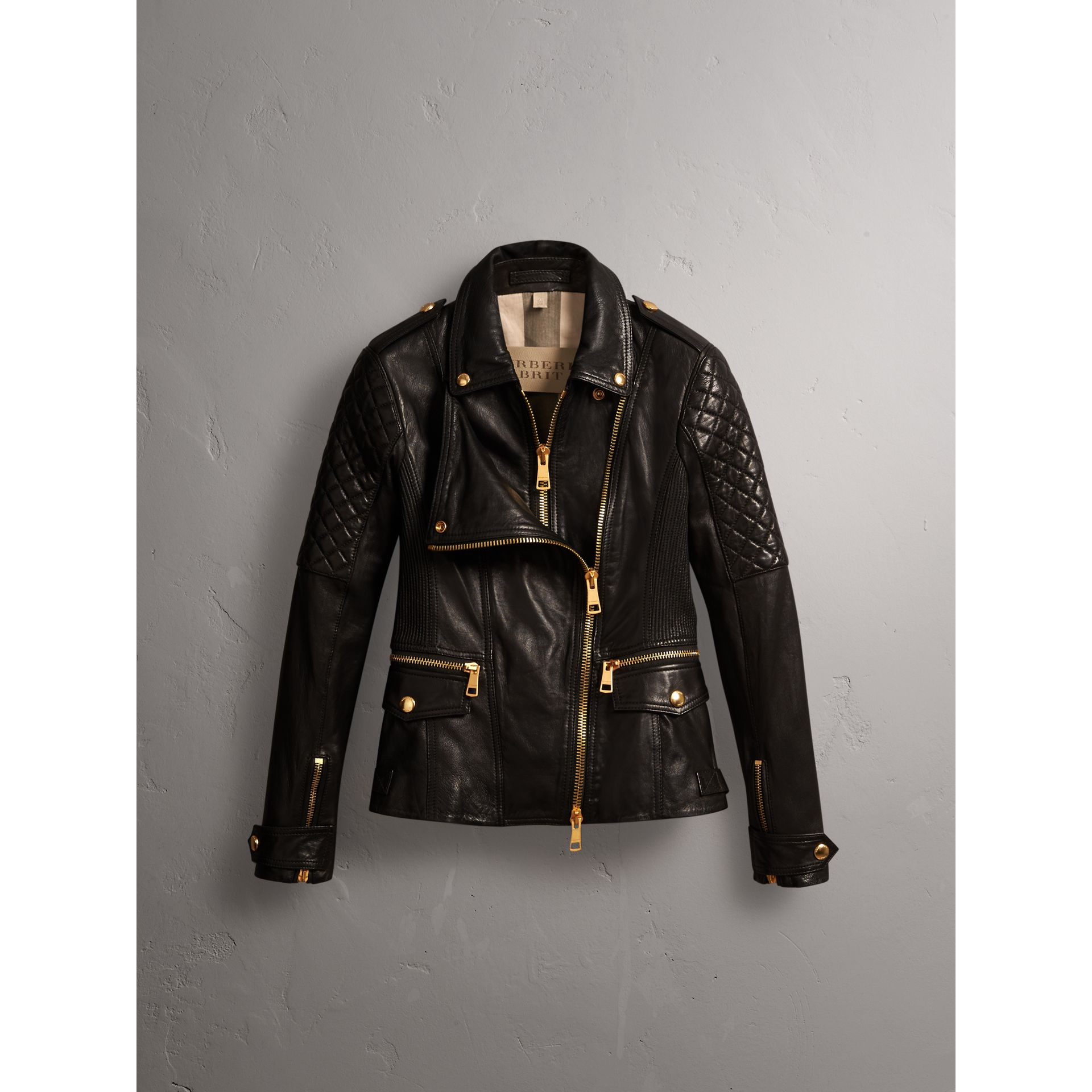 Diamond Quilted Detail Lambskin Biker Jacket - Women | Burberry - gallery image 4