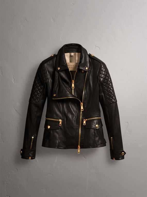 Diamond Quilted Detail Lambskin Biker Jacket in Black - Women | Burberry - cell image 3
