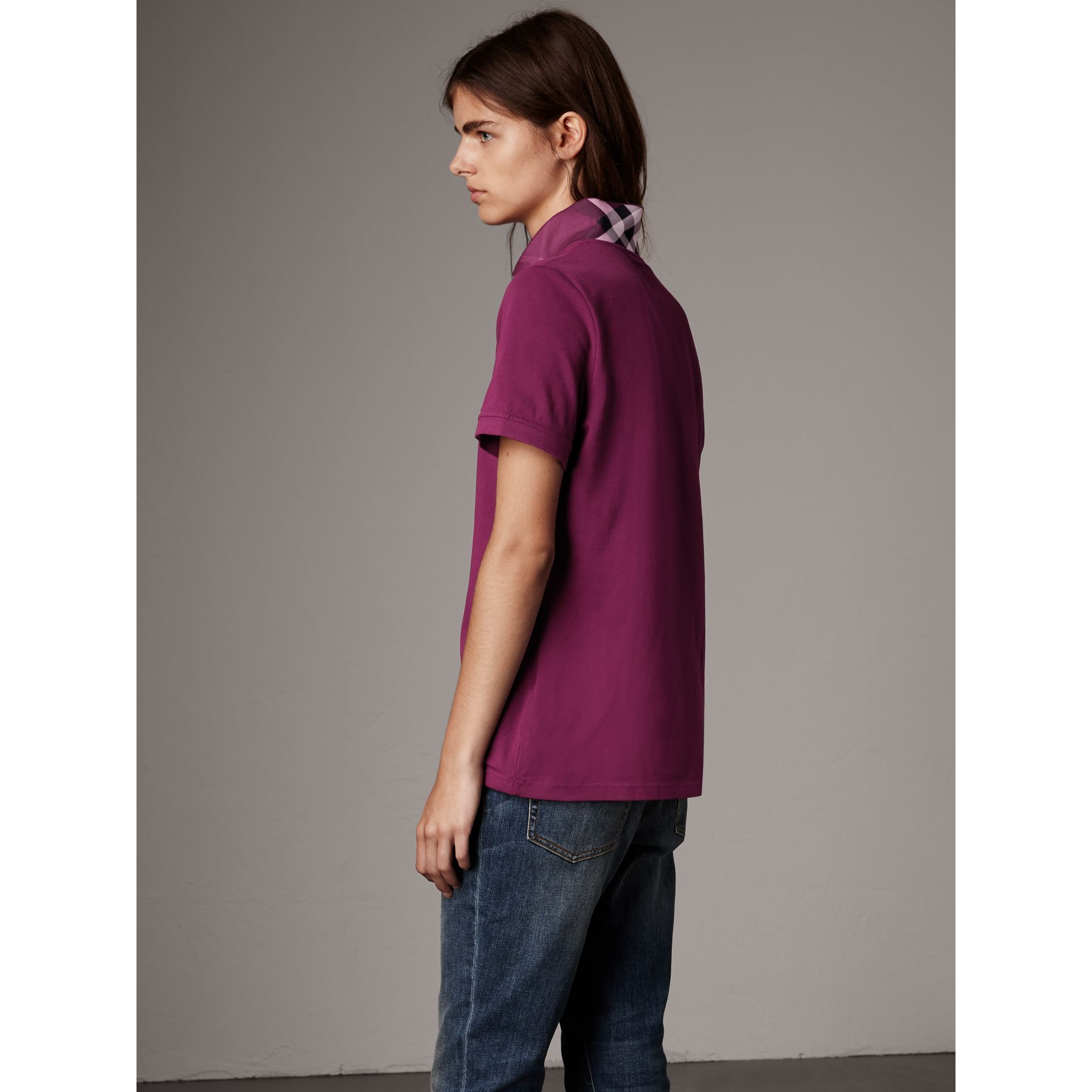 Check Trim Stretch Cotton Piqué Polo Shirt in Magenta Pink - Women | Burberry United Kingdom - gallery image 2
