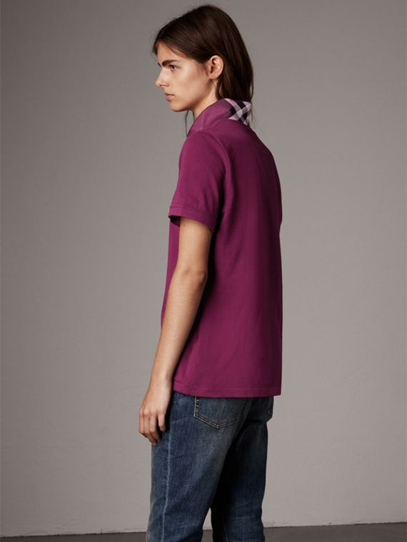 Check Trim Stretch Cotton Piqué Polo Shirt in Magenta Pink - Women | Burberry - cell image 2