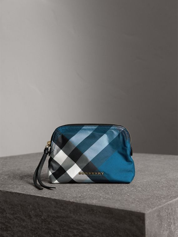 Medium Zip-top Check Technical Pouch in Marine Blue - Women | Burberry