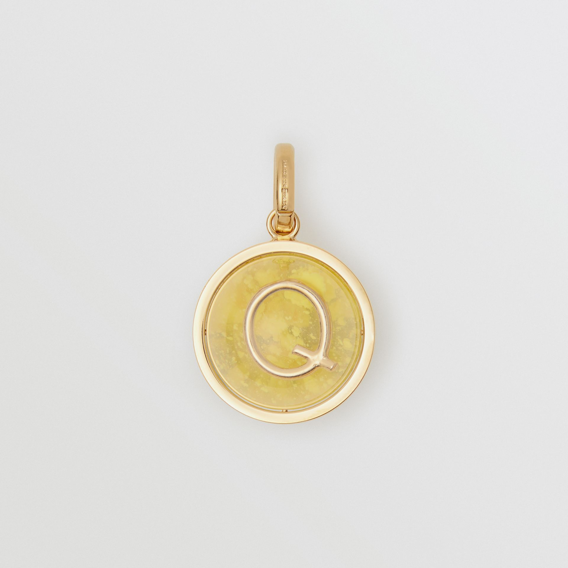 Marbled Resin 'Q' Alphabet Charm in Gold/mimosa - Women | Burberry Singapore - gallery image 0