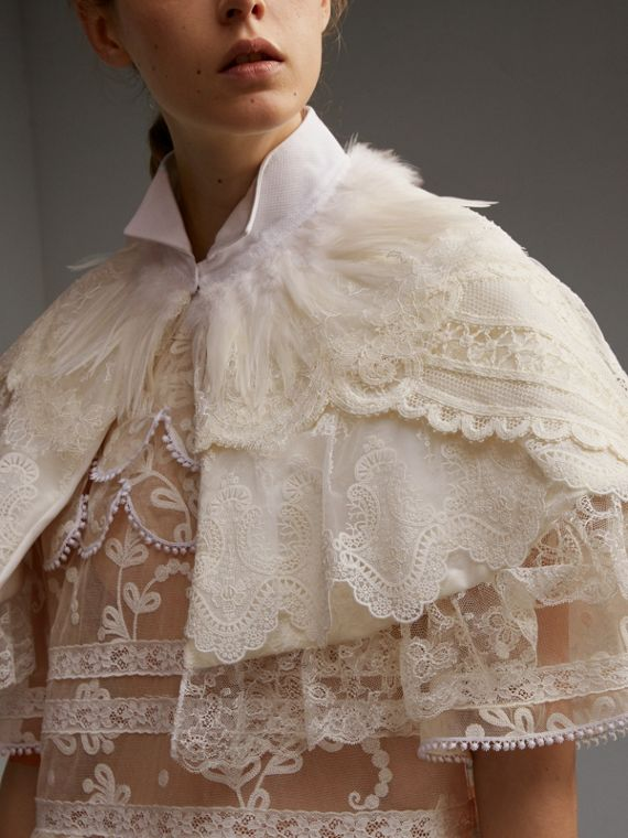Feather Collar Detail Layered Lace Capelet - Women | Burberry