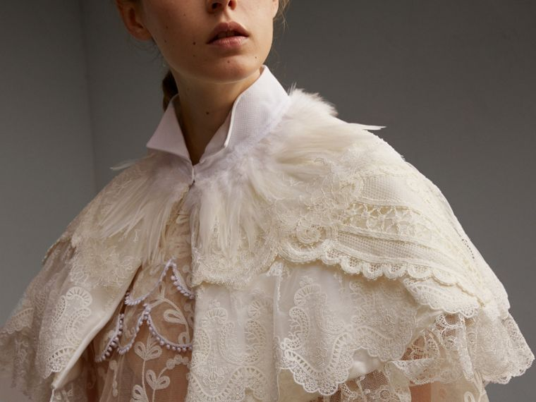 Feather Collar Detail Layered Lace Capelet in White - Women | Burberry Singapore - cell image 4