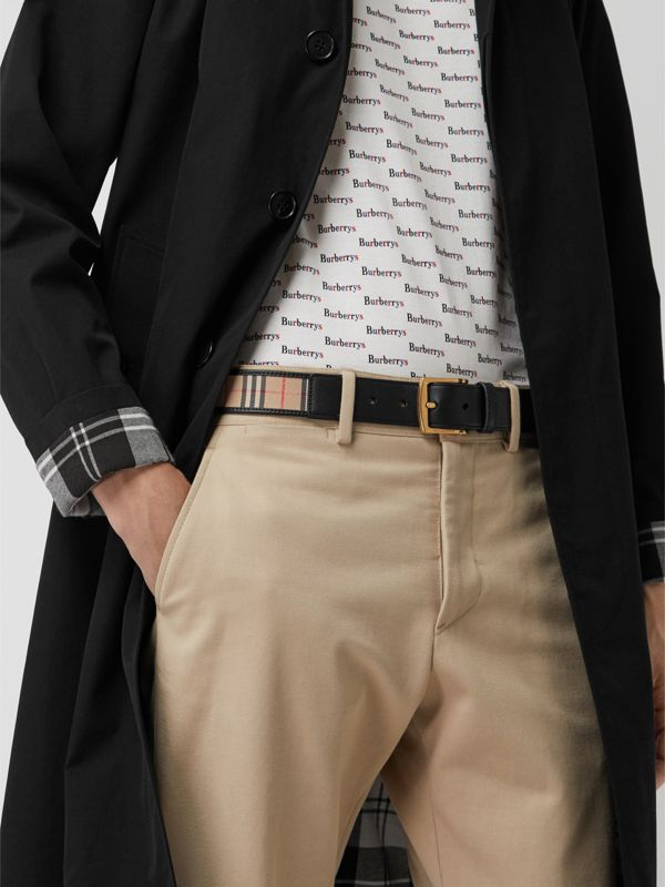 1983 Check and Leather Belt in Black - Men | Burberry - cell image 2