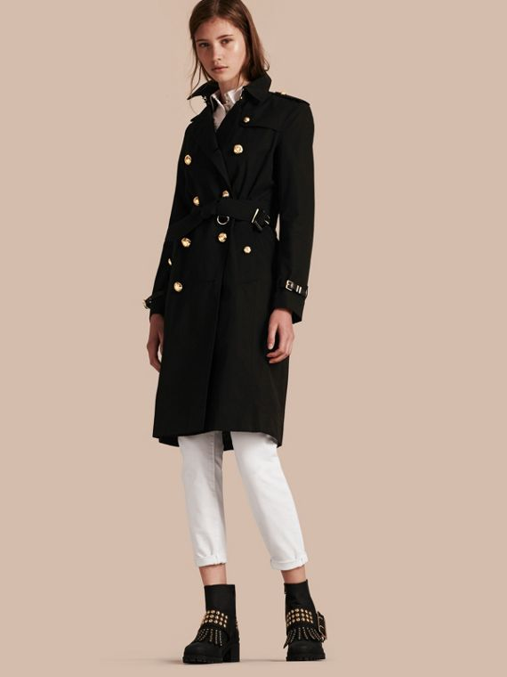 Military Button Cotton Gabardine Trench Coat