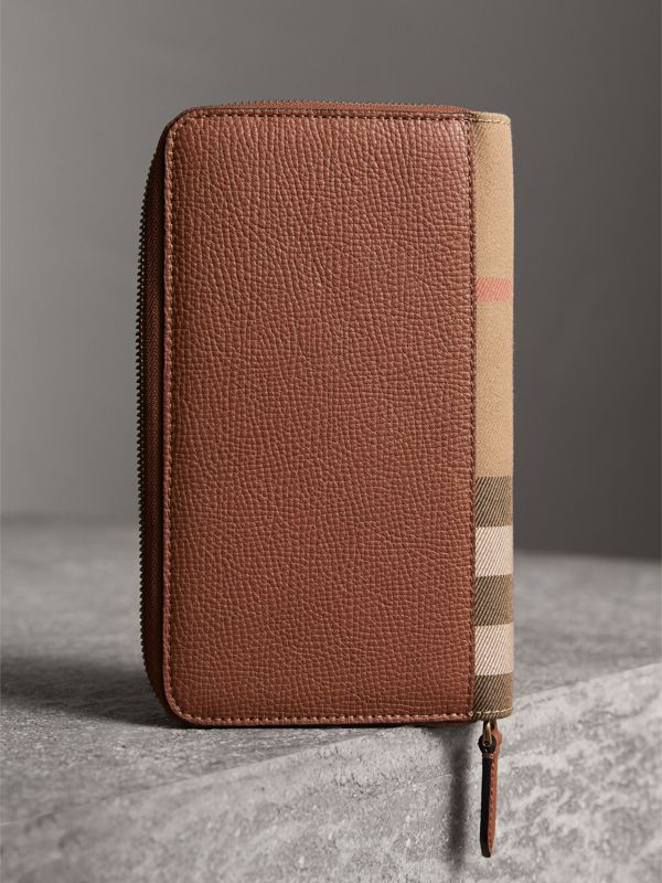 House Check and Grainy Leather Ziparound Wallet in Chestnut Brown | Burberry - cell image 2