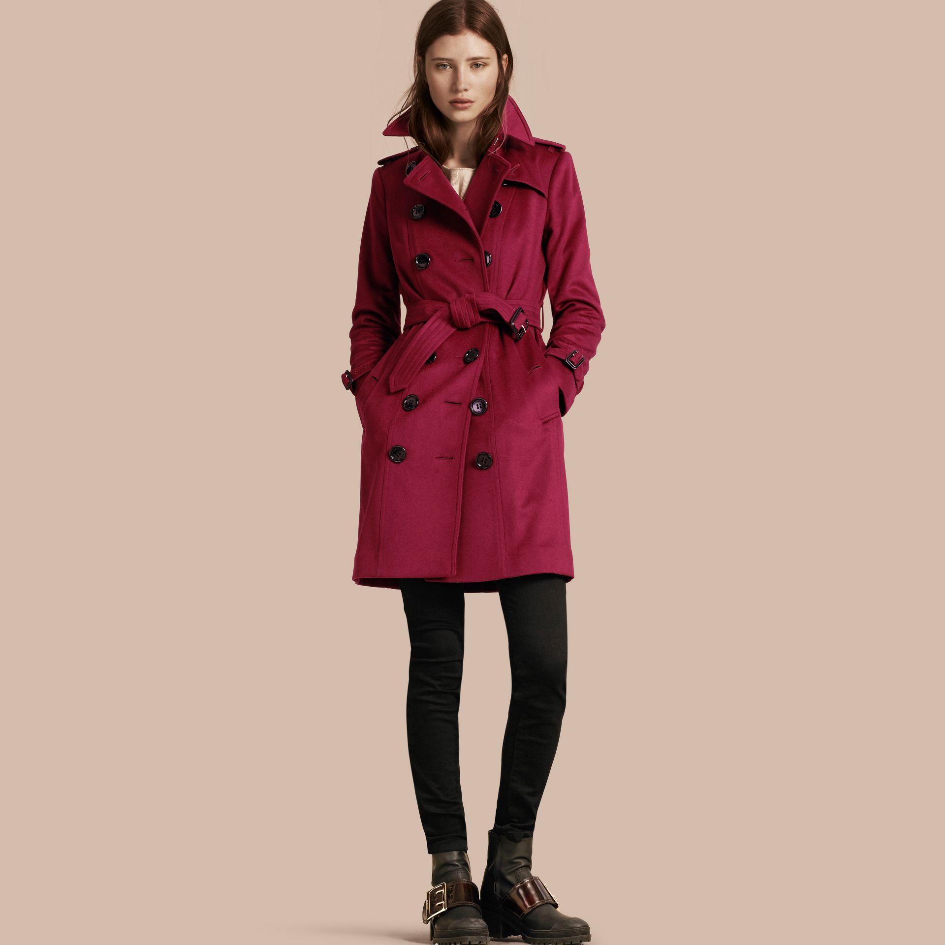 Sandringham Fit Cashmere Trench Coat in Cherry Pink - gallery image 1