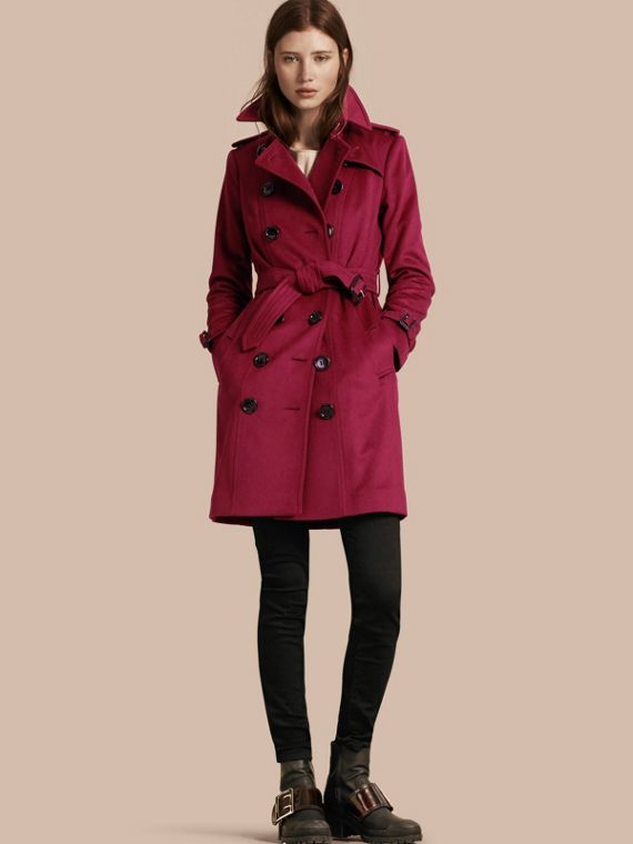 Sandringham Fit Cashmere Trench Coat Cherry Pink