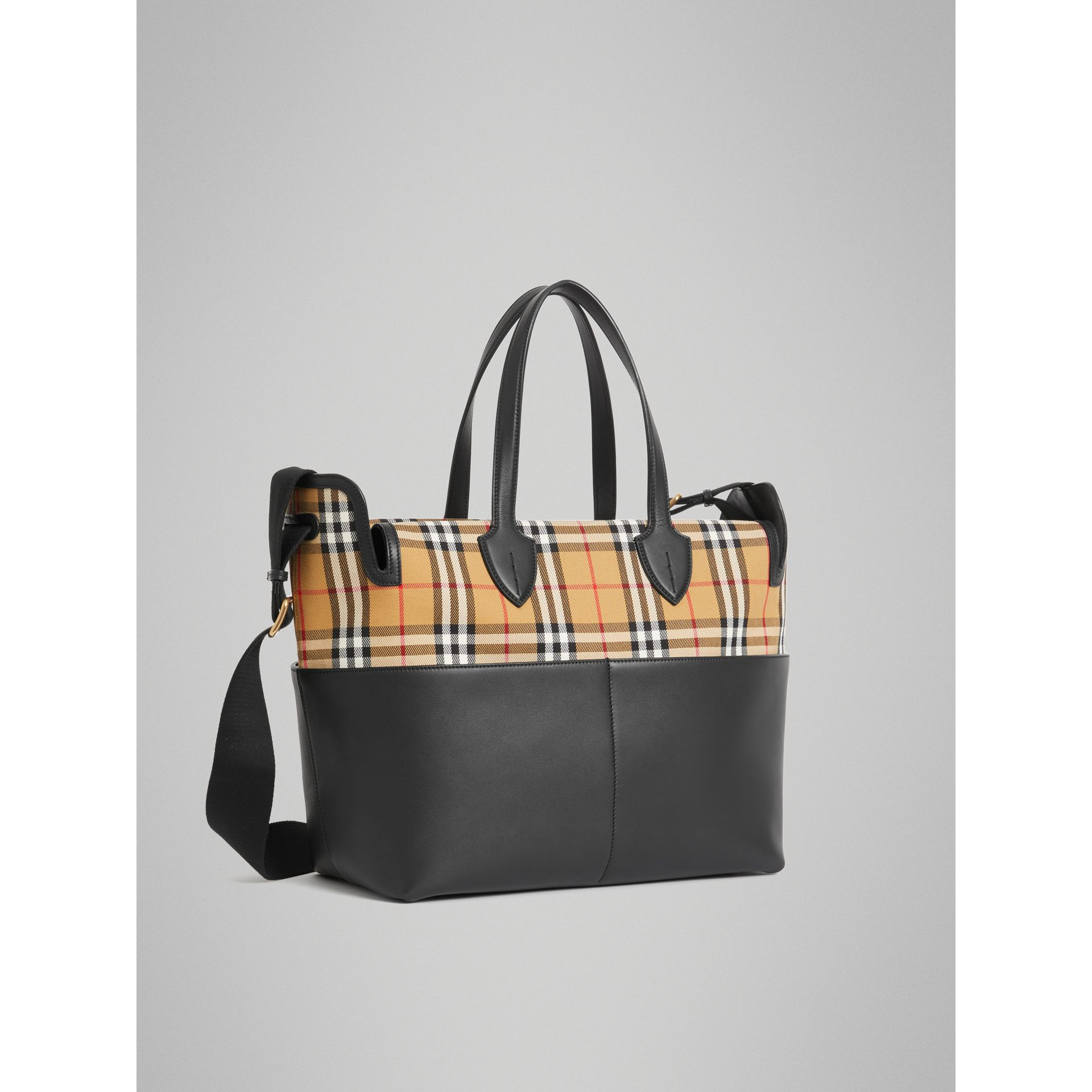 Vintage Check and Leather Baby Changing Tote in Black - Children | Burberry United States - gallery image 4
