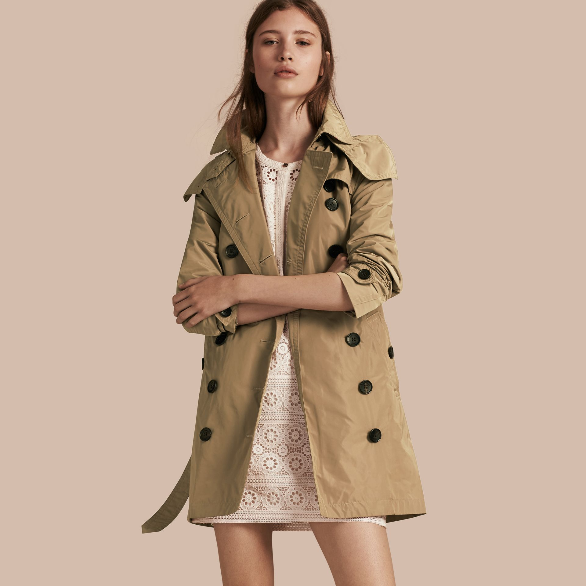 Taffeta Trench Coat with Detachable Hood in Sisal - gallery image 1