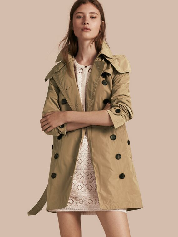 Taffeta Trench Coat with Detachable Hood in Sisal