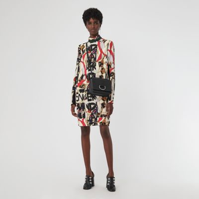 Graffiti Archive Scarf Print Silk Wool Shift Dress in White