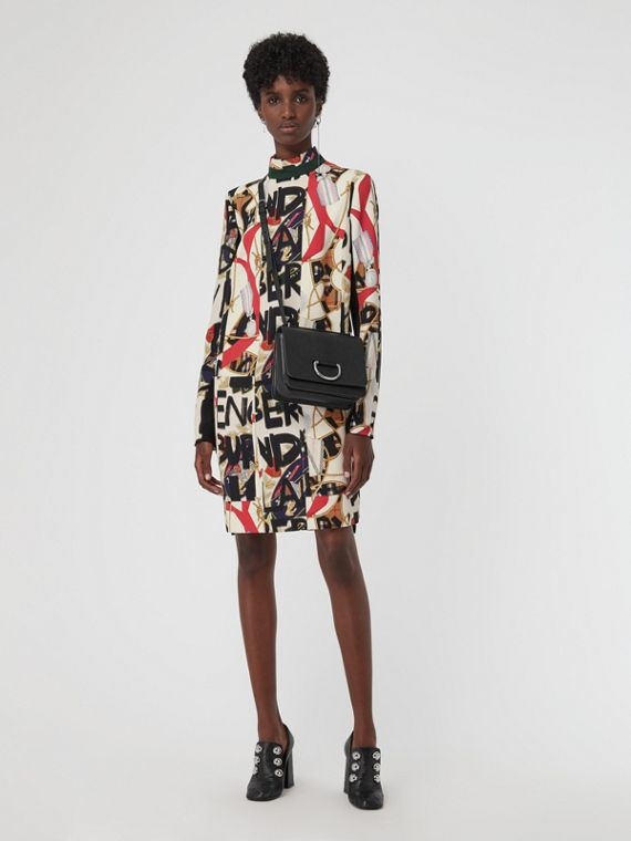 Graffiti Archive Scarf Print Silk Wool Shift Dress in Stone