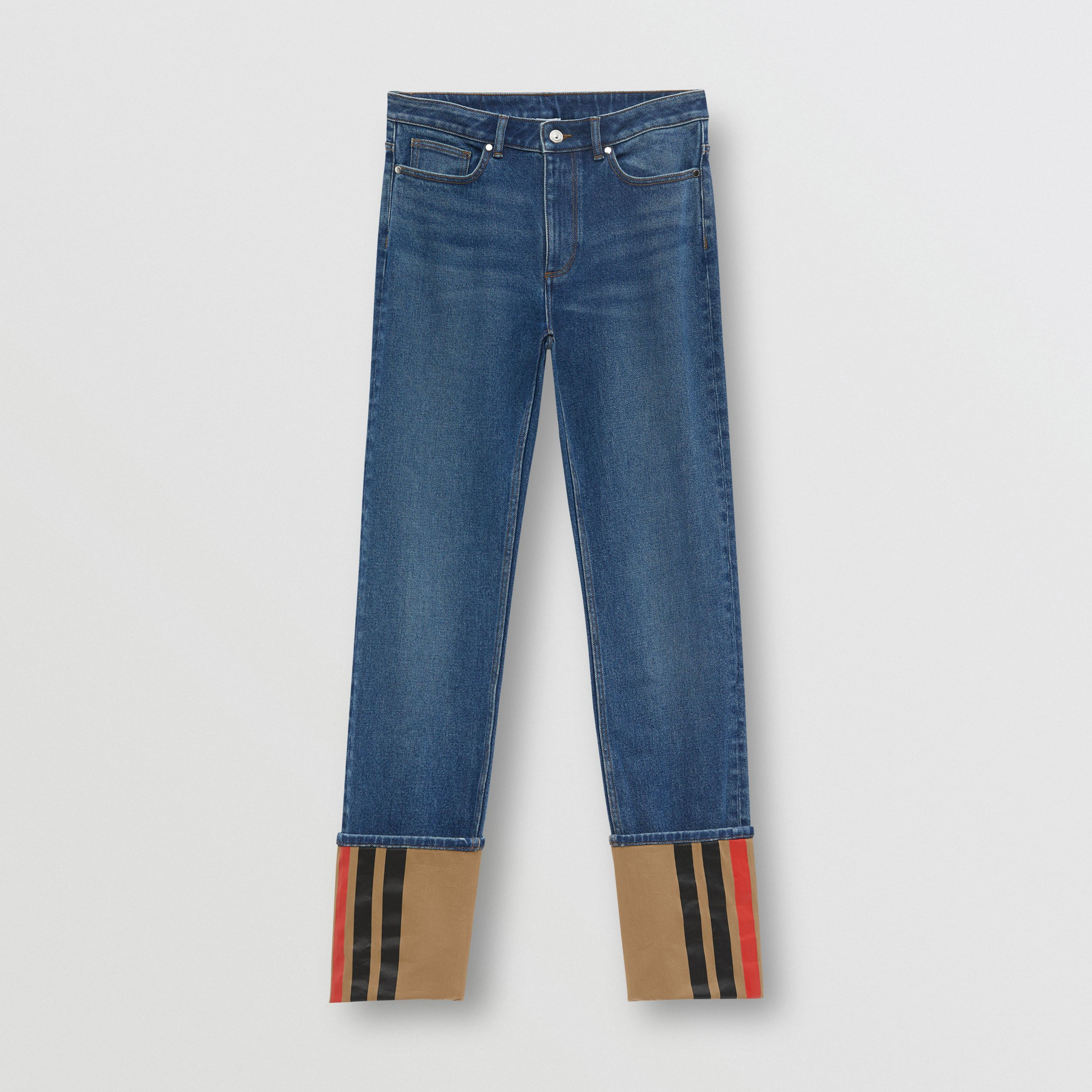 Straight Fit Striped Cuff Washed Jeans in Mid Indigo Blue - Women | Burberry - 4