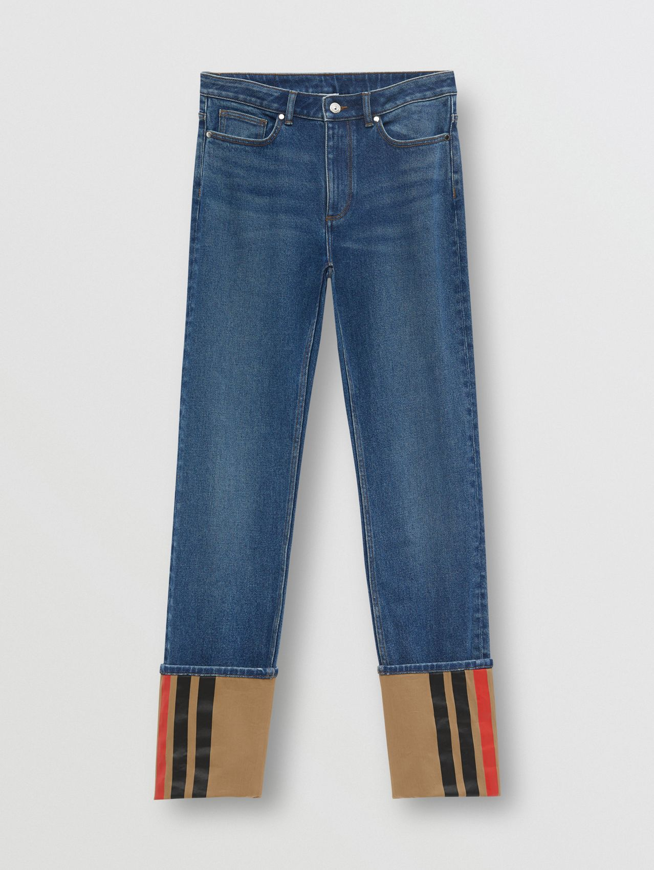 Straight Fit Striped Cuff Washed Jeans in Mid Indigo Blue
