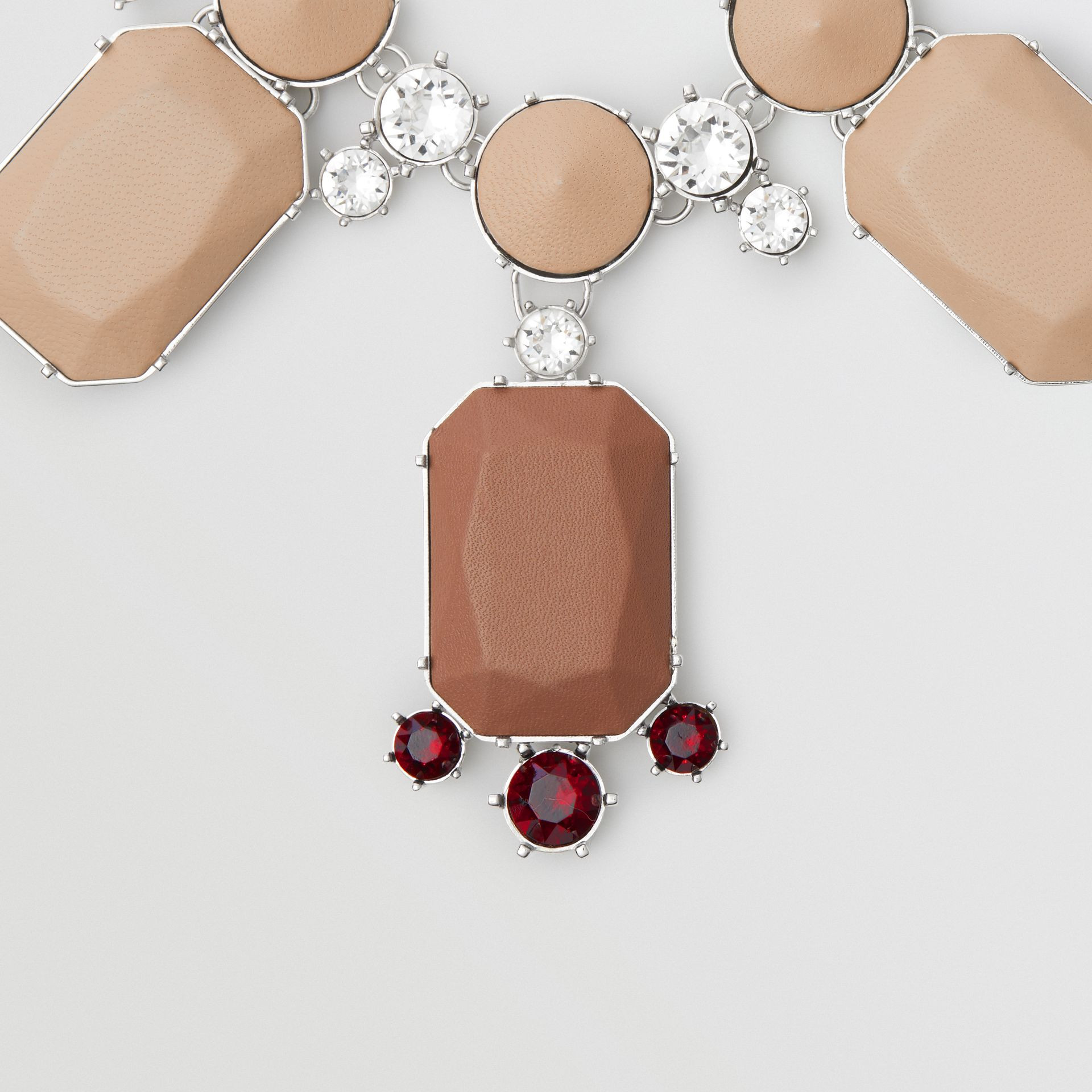 Glass, Crystal and Leather Drop Necklace in Malt Brown/honey - Women | Burberry - gallery image 1