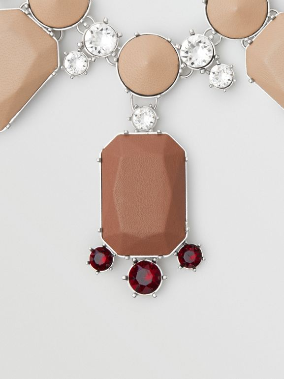 Glass, Crystal and Leather Drop Necklace in Malt Brown/honey - Women | Burberry Australia - cell image 1