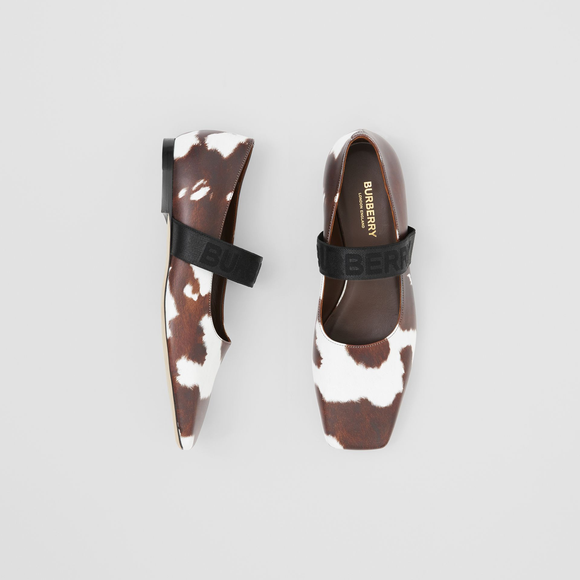 Logo Detail Cow Print Leather Flats - Women | Burberry - gallery image 0