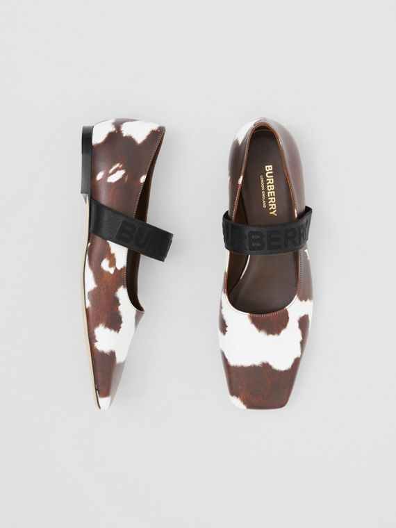 Logo Detail Cow Print Leather Flats