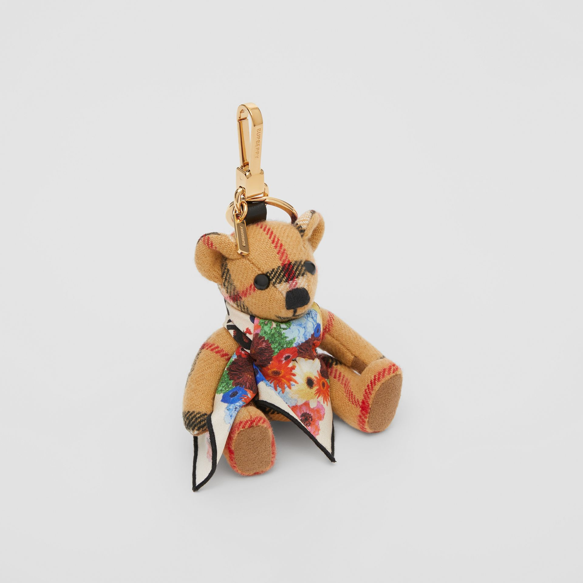 Thomas Bear Charm with Floral Silk Scarf in Antique Yellow - Women | Burberry United Kingdom - gallery image 0