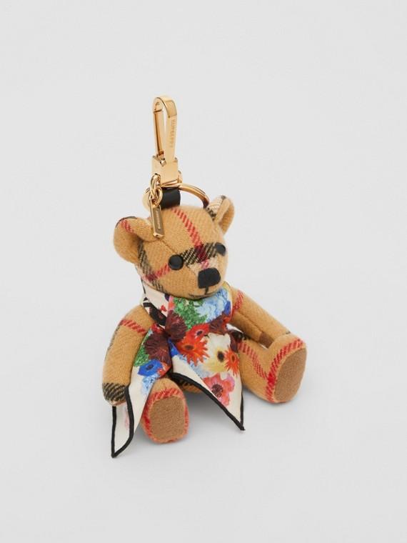 Bijou porte-clés Thomas Bear avec foulard en soie à imprimé floral (Jaune Antique)