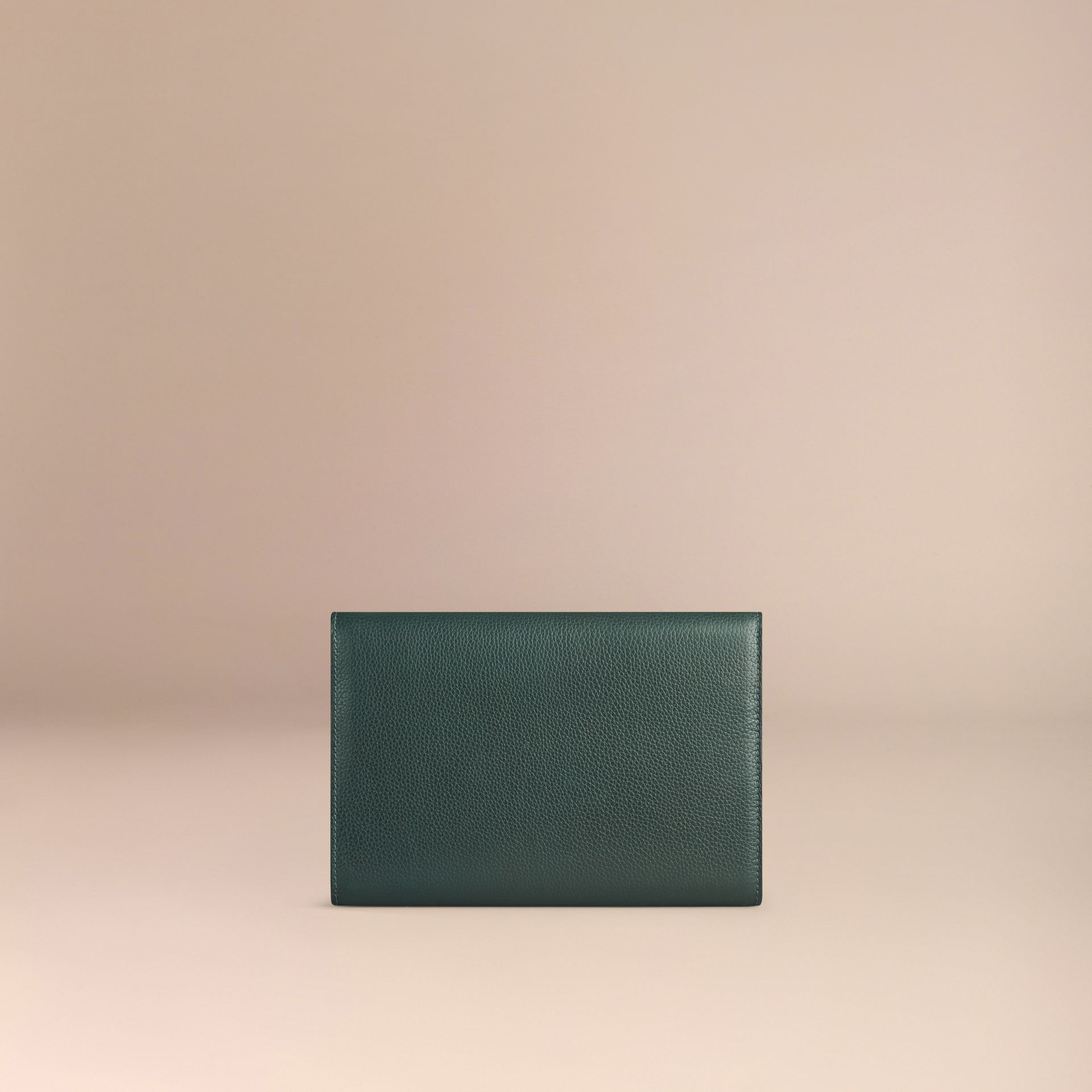 Grainy Leather Travel Wallet in Dark Forest Green - Men | Burberry - gallery image 2