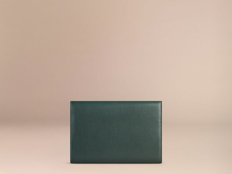 Grainy Leather Travel Wallet in Dark Forest Green - Men | Burberry - cell image 1
