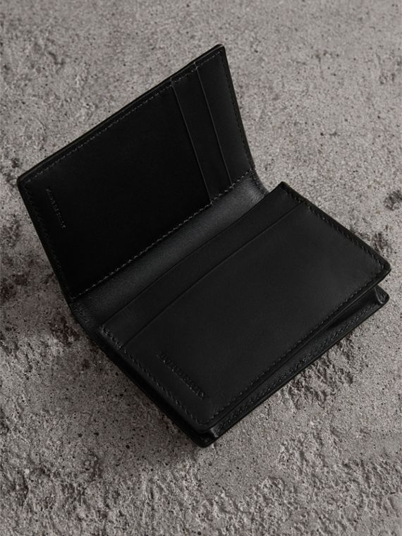 London Leather Folding Card Case in Black | Burberry United States - cell image 3