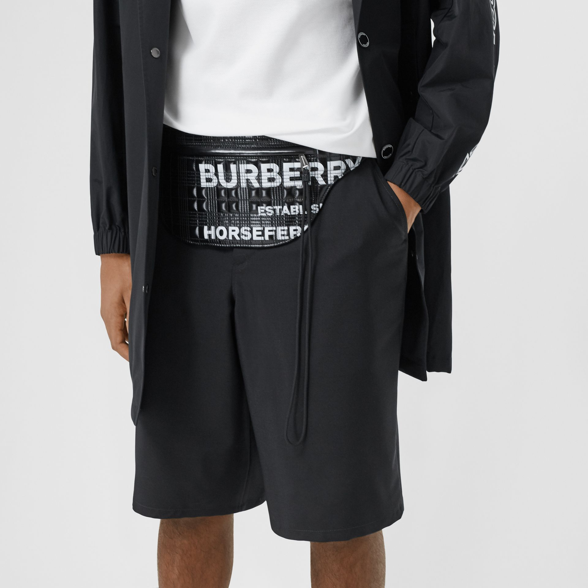 Horseferry Print Coated Canvas Brummell Bum Bag in Black - Men | Burberry United States - gallery image 3