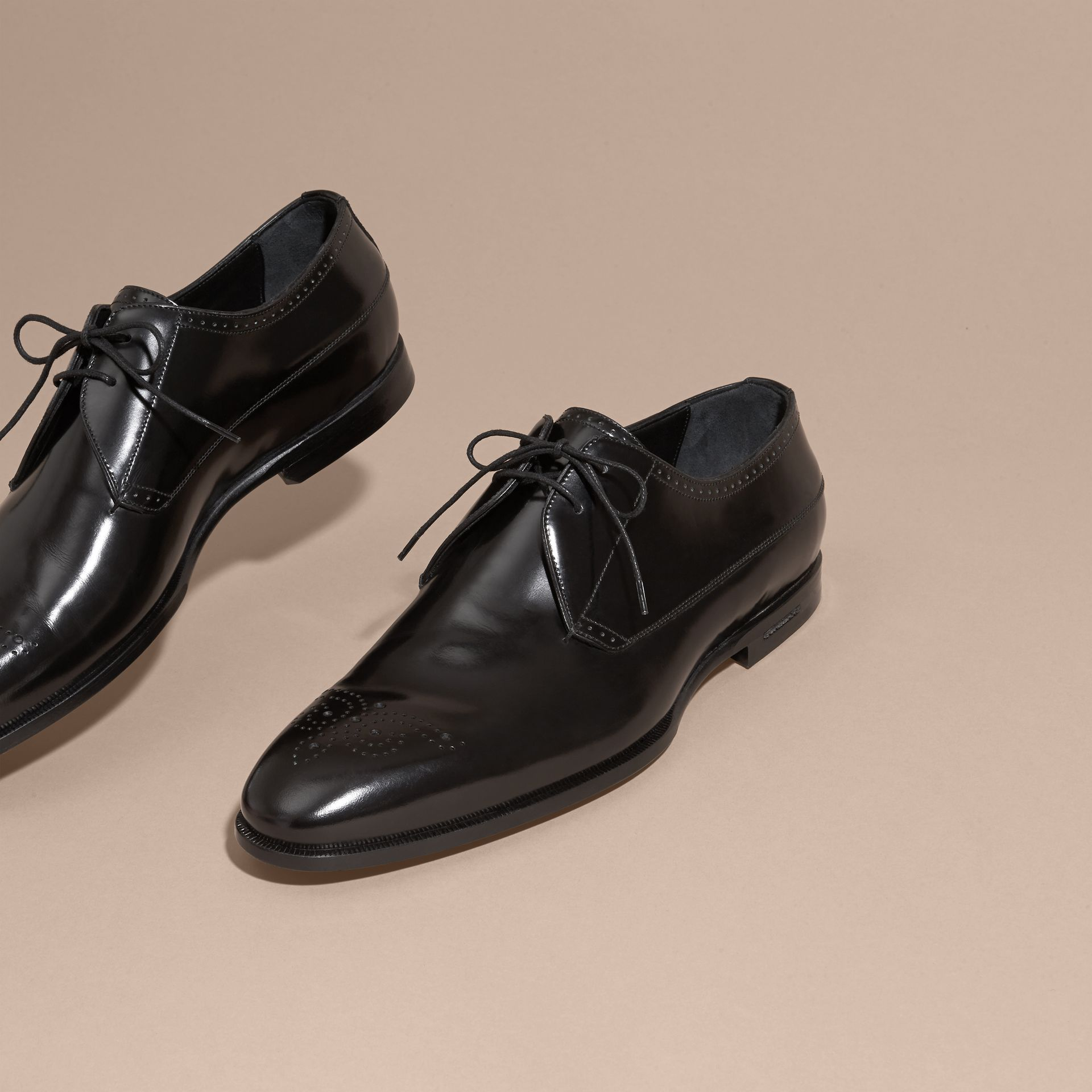 Black Perforated Detail Leather Derby Shoes - gallery image 3