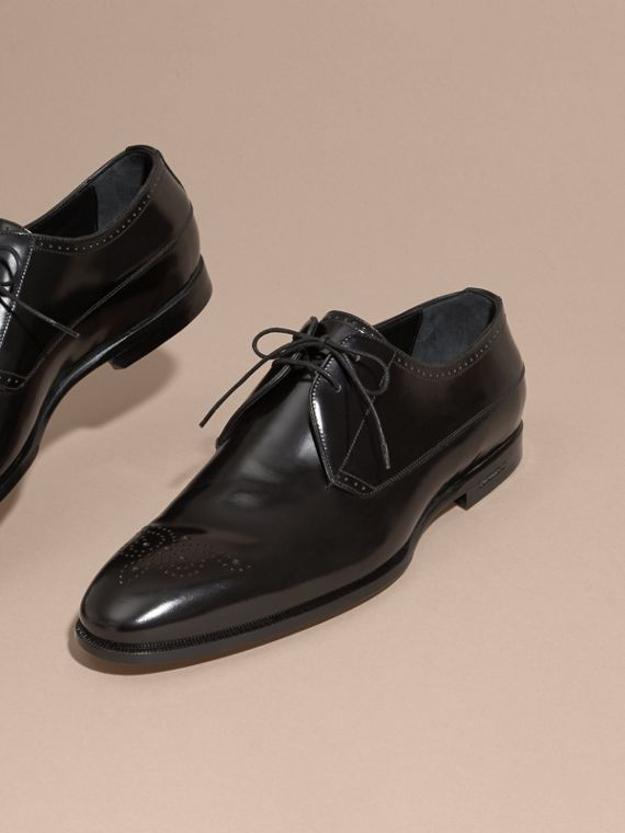 Black Perforated Detail Leather Derby Shoes - cell image 2