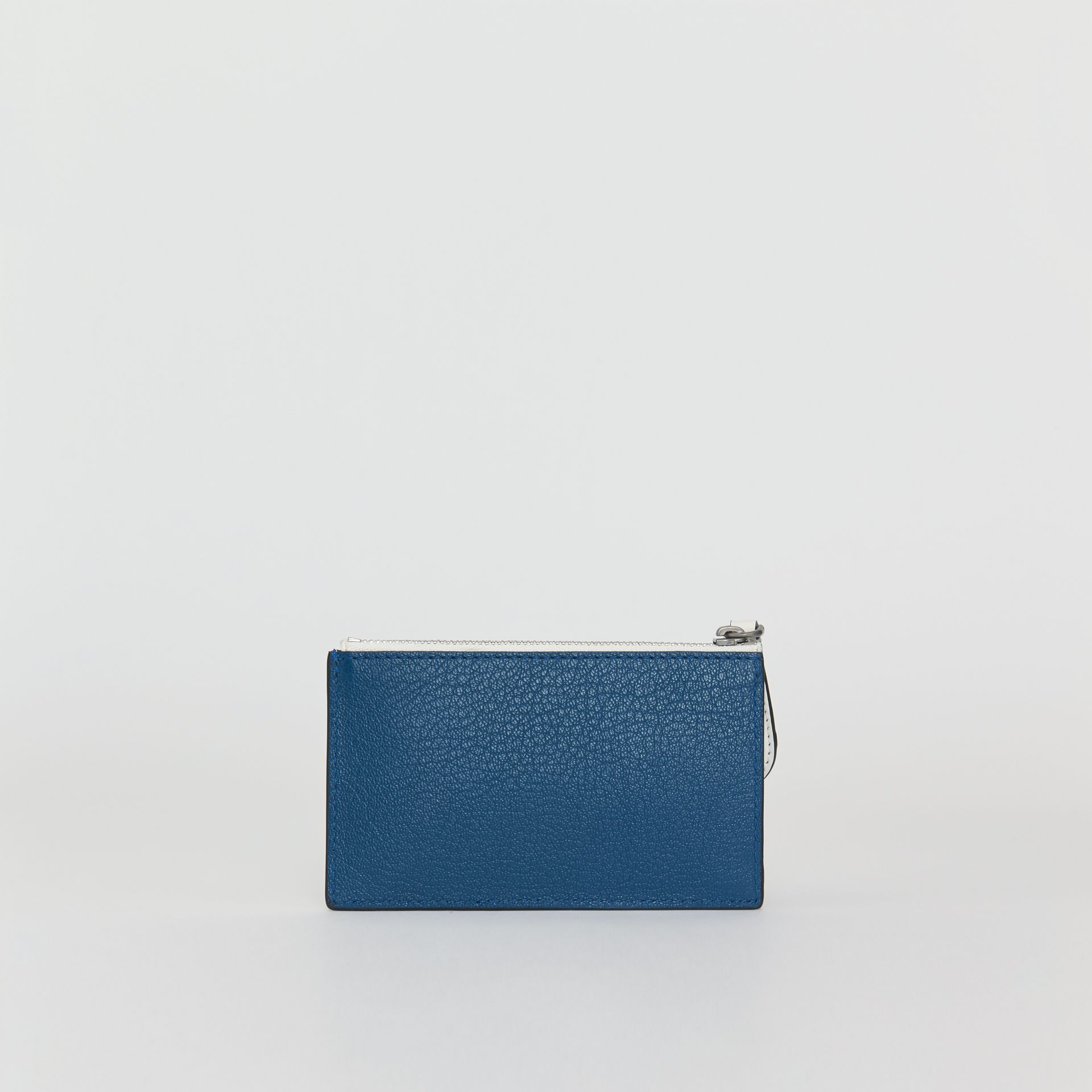 Two-tone Leather Zip Card Case in Peacock Blue | Burberry - gallery image 4