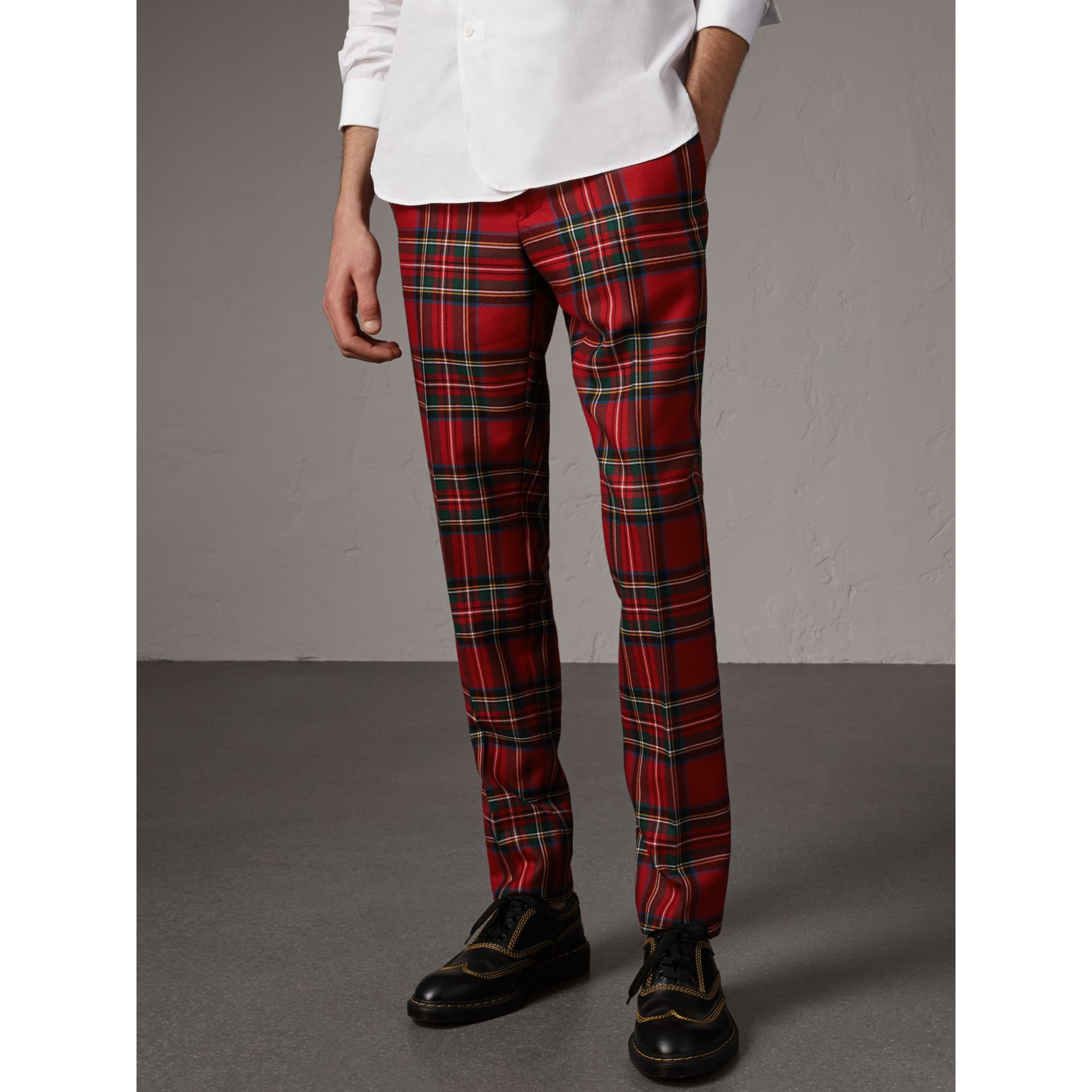 Tartan Wool Tailored Trousers in Bright Red - Men | Burberry - gallery image 4