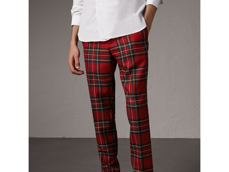 Tartan Wool Tailored Trousers in Bright Red - Men | Burberry - cell image 4