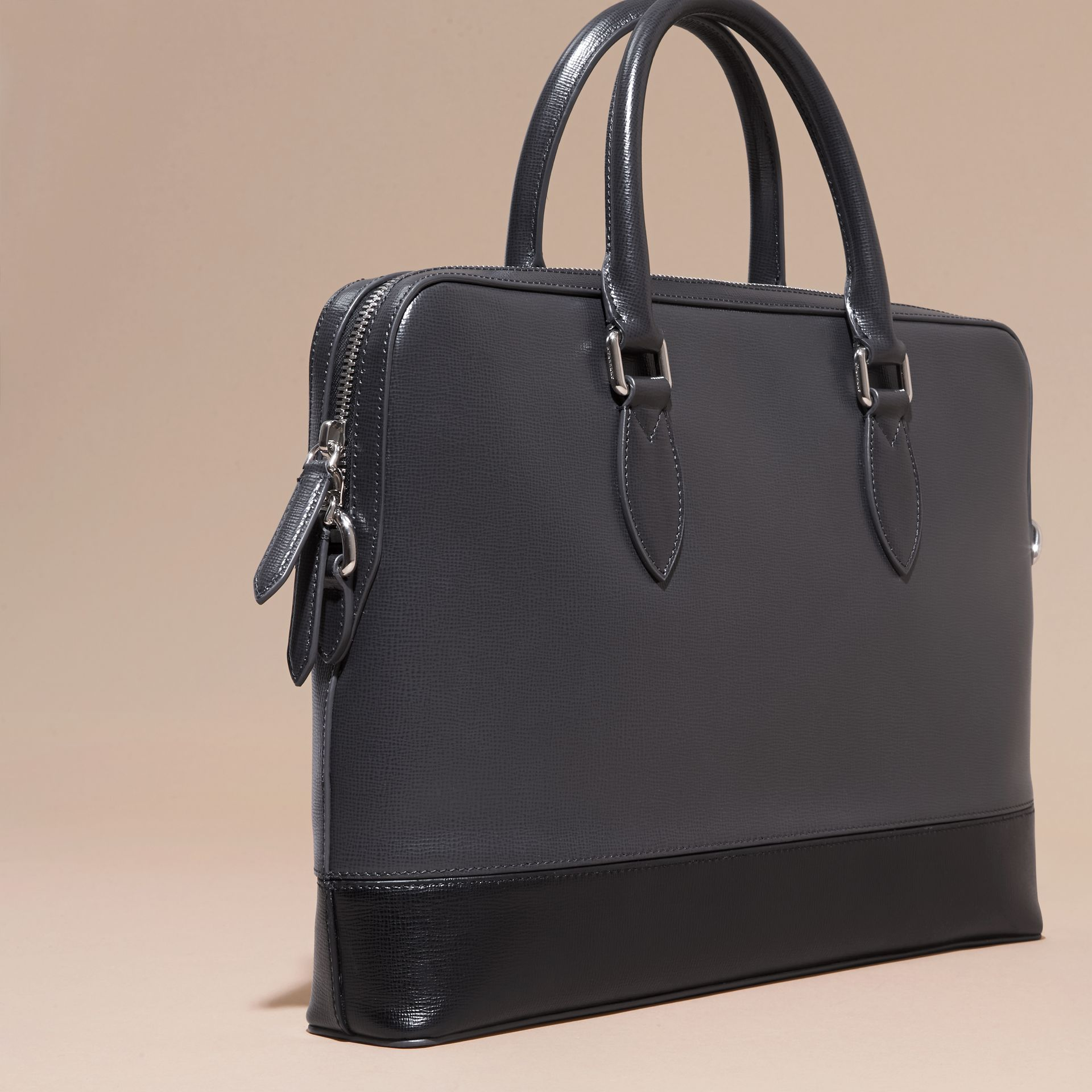 Charcoal/black The Slim Barrow in Panelled London Leather Charcoal/black - gallery image 4