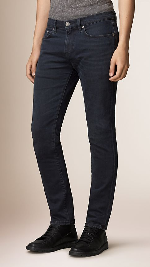 Deep indigo Slim Fit Washed Indigo Jeans - Image 1
