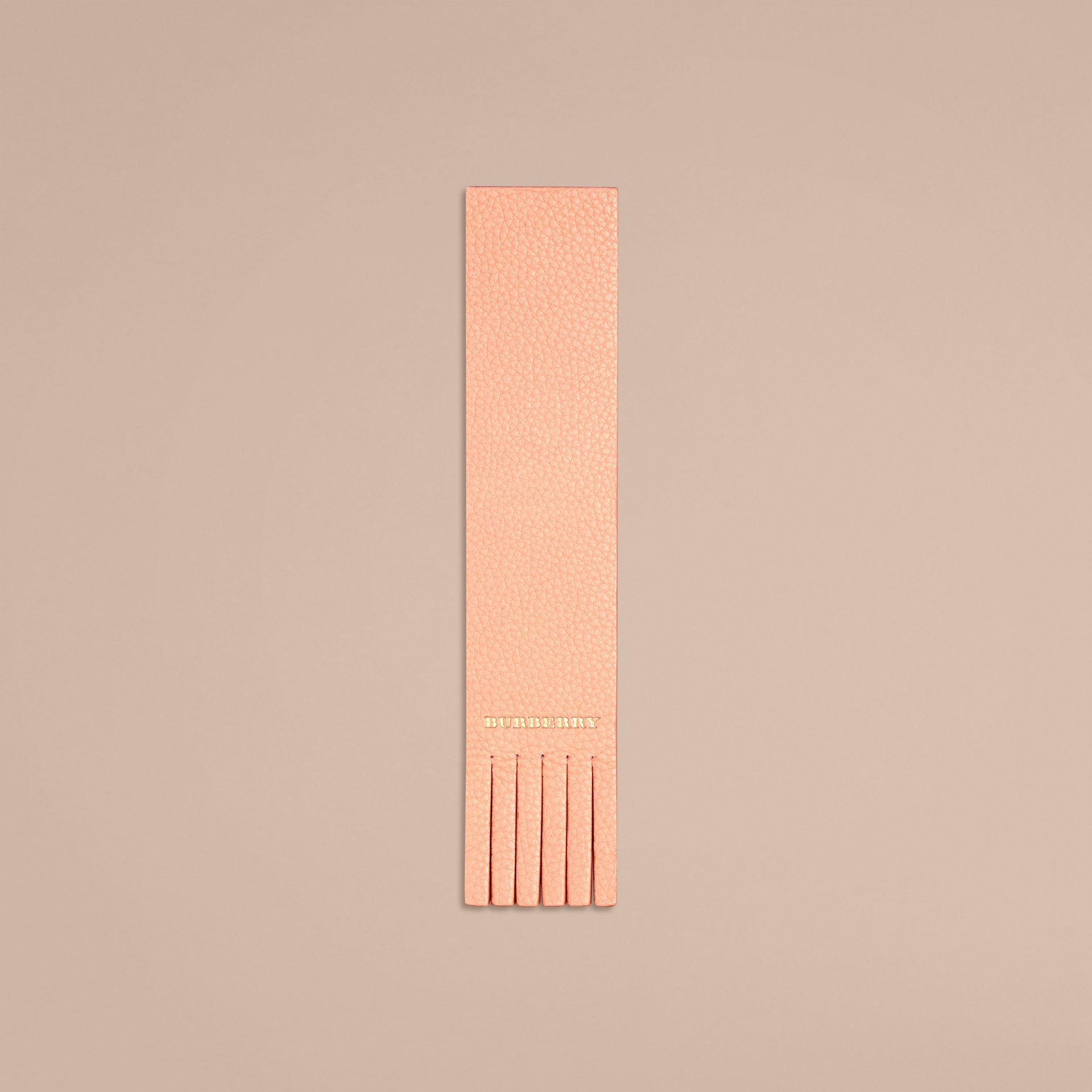 Pink apricot Fringe Detail Grainy Leather Bookmark - gallery image 1