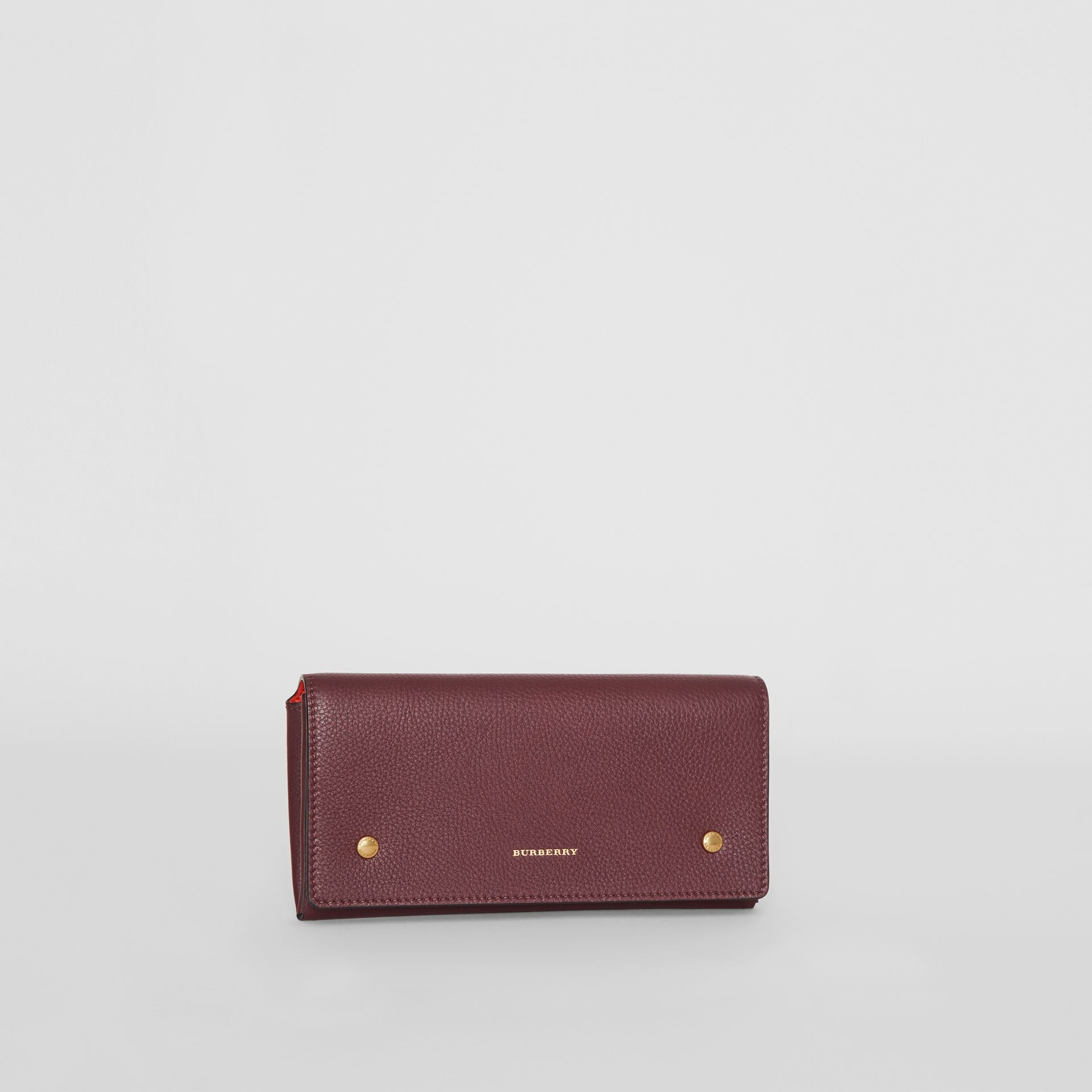 Two-tone Leather Continental Wallet in Deep Claret - Women | Burberry United States - gallery image 4